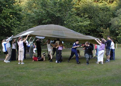 Travellers Youth Group - Parachute Games on Summer Barbecue